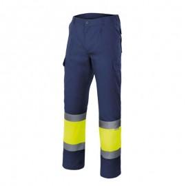Pantalón Bicolor Alta Visibilidad Forrado Azul / Amarillo